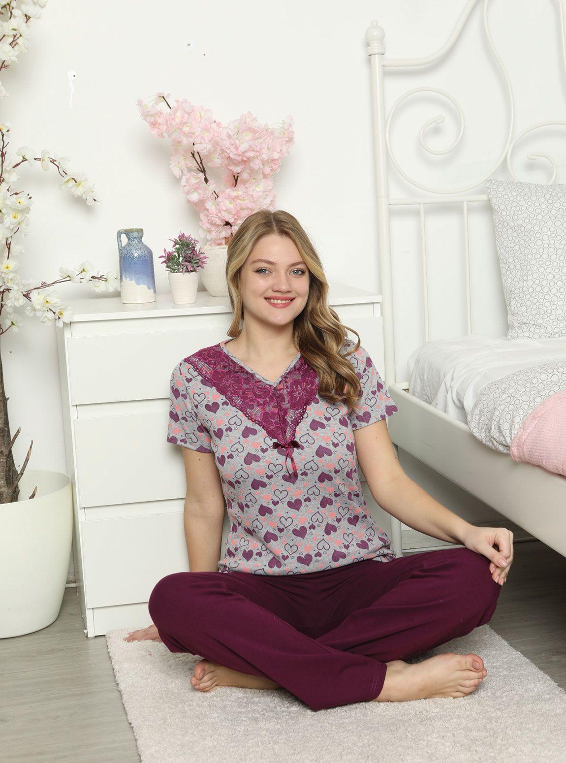 15706P Penye Bayan Pijama Takım
